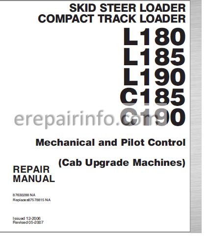 New Holland L180 L185 L190 C185 C190 Repair Manual ... on